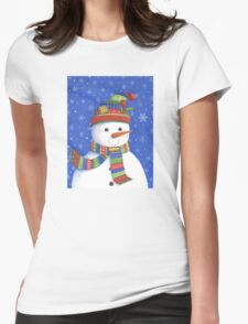 Cute highly detailed snowman Womens Fitted T-Shirt