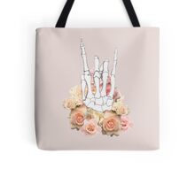 Skeleton hand and Roses Tote Bag
