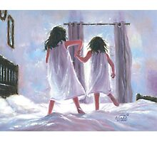 Two Sisters Jumping on the Bed Photographic Print