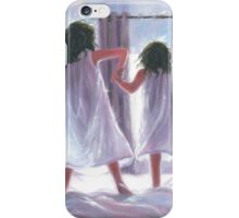 Two Sisters Jumping on the Bed iPhone Case/Skin