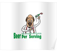 as 1.6 Grams Of Protein - man drink beer shirt  Poster
