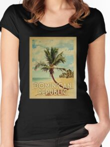 Dominican Republic Vintage Travel T-shirt Beach Women's Fitted Scoop T-Shirt