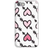 Pink hearts with arrow iPhone Case/Skin