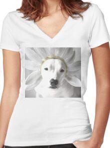 Pittie Flower Women's Fitted V-Neck T-Shirt