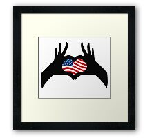 Hands Heart Symbol United States American Flag Framed Print