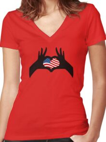 Hands Heart Symbol United States American Flag Women's Fitted V-Neck T-Shirt