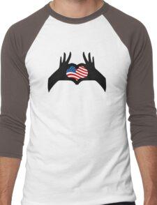 Hands Heart Symbol United States American Flag Men's Baseball ¾ T-Shirt
