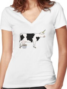 Magical Unicorn Dairy Milk Cow Women's Fitted V-Neck T-Shirt