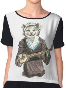 A Singing Cat Playing Samisen Chiffon Top