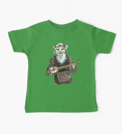 A Singing Cat Playing Samisen Baby Tee