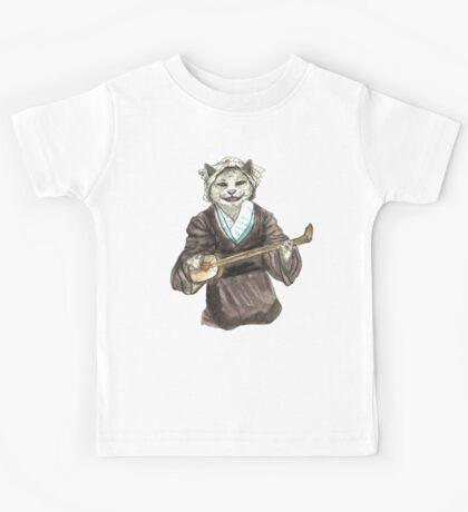 A Singing Cat Playing Samisen Kids Tee