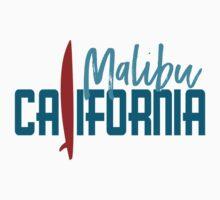 Malibu California T-shirt - Surfboard One Piece - Short Sleeve