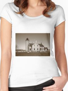 Lighthouse and Mackinac Bridge Women's Fitted Scoop T-Shirt