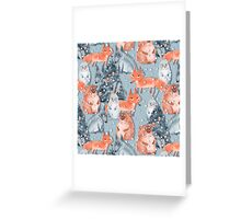 Holiday pattern with animals 5 Greeting Card