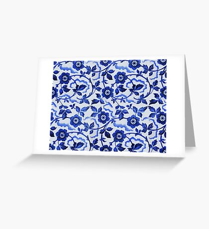Azulejos blue floral pattern Greeting Card