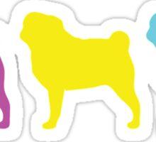 3 pugs silhouette Sticker