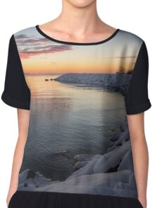 Small Cove Pink and Snowy Dawn Chiffon Top