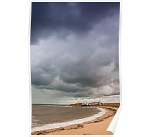 View of stormy seascape. Toned. Poster