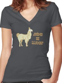 Como Se Llama?  What is your name? Women's Fitted V-Neck T-Shirt