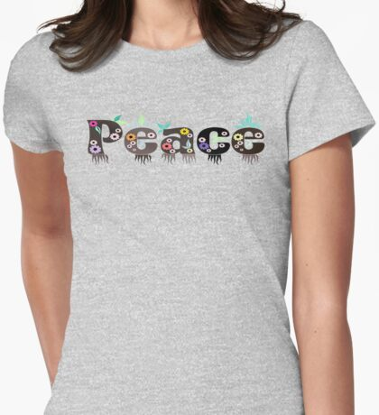 Peace Text With Decorative Floral Elements T-Shirts And Gifts Womens Fitted T-Shirt