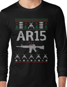 Ar15 Ugly Christmas Sweater, Funny Men Women AR 15 Gun Lovers Gift Long Sleeve T-Shirt
