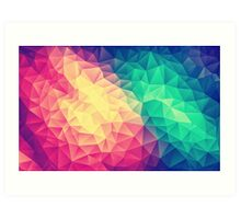 Abstract Polygon Multi Color Cubism Triangle Design Art Print