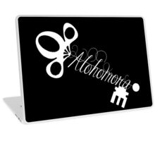 Alohomora Skeleton Key White on Black Laptop Skin
