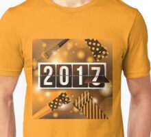 2017 New Year's mechanical flip numbers and party blowers design Unisex T-Shirt