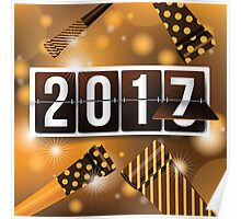 2017 New Year's mechanical flip numbers and party blowers design Poster