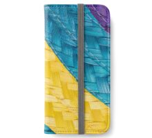 Colorful background of woven straw iPhone Wallet/Case/Skin