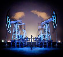 Oil Rigs at night. by bashta