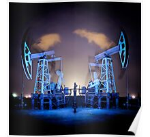 Oil Rigs at night. Poster