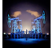 Oil Rigs at night. Photographic Print