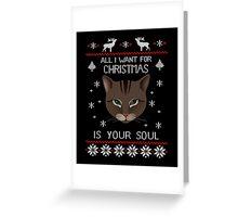 Funny Cat Ugly Christmas Sweater T-Shirt, Men Women Love Cat T-Shirt Greeting Card