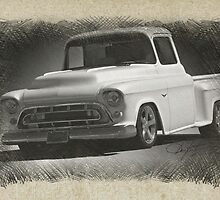 1956 Chevrolet Stepside Pickup Sketch 1 by DaveKoontz