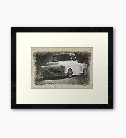 1956 Chevrolet Stepside Pickup Sketch 1 Framed Print