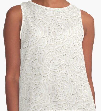 White Lace Design on Products Three Contrast Tank