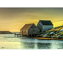 Fishing Shacks at Sunset Photographic Print