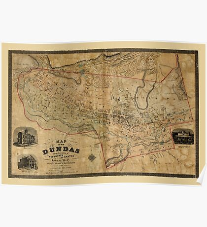 Map Of Dundas 1851 Poster