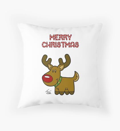 Reindeer - Christmas Card Throw Pillow