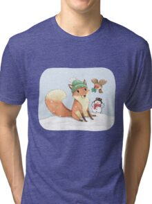 Christmas Fox Tri-blend T-Shirt