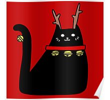 Reindeer Black Cat Poster
