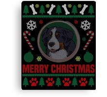 Bernese Mountain Dog Ugly Christmas Sweater, Funny Dog T-Shirt Canvas Print