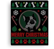 Boston Terrier Dog Ugly Christmas Sweater T-Shirt, Funny Men Women Christmas Gift Shirt Canvas Print