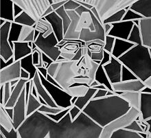 Gray Scale Geometric Marvel's Captain America Art by fromfarahway