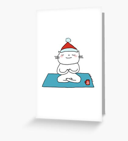 Christmas time ... just breathe yoga / Cat doodles Greeting Card