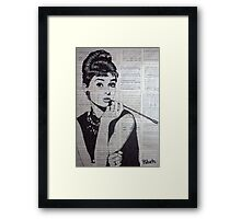 old book drawing famous people Audrey Framed Print