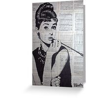 old book drawing famous people Audrey Greeting Card