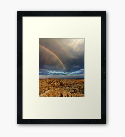 Rainbow over Badlands National Park Framed Print