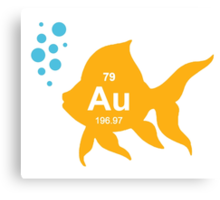 Periodic Table Elemental Gold Fish Canvas Print